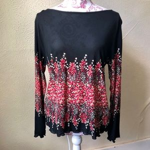 Kasper Sheer Blouse with a Floral Mid Section XL